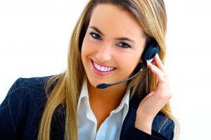young assistant on call center